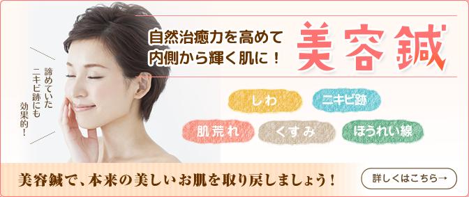 美容鍼:お肌のしみ・たるみ・肌荒れ・乾燥・ゆるみ・クマ・目尻のシワ